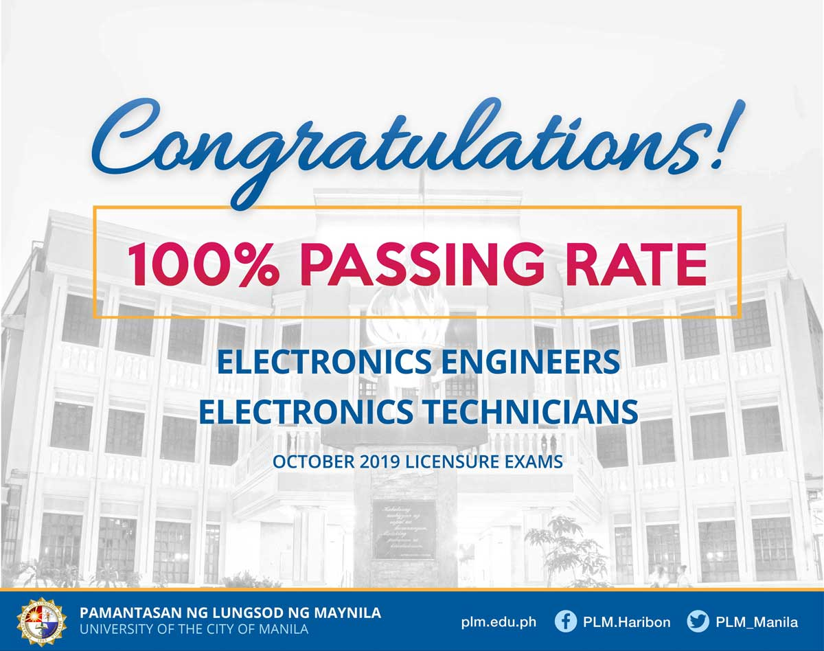 PLM gets 100% passing rate in ECE, Electronics Technician board exam