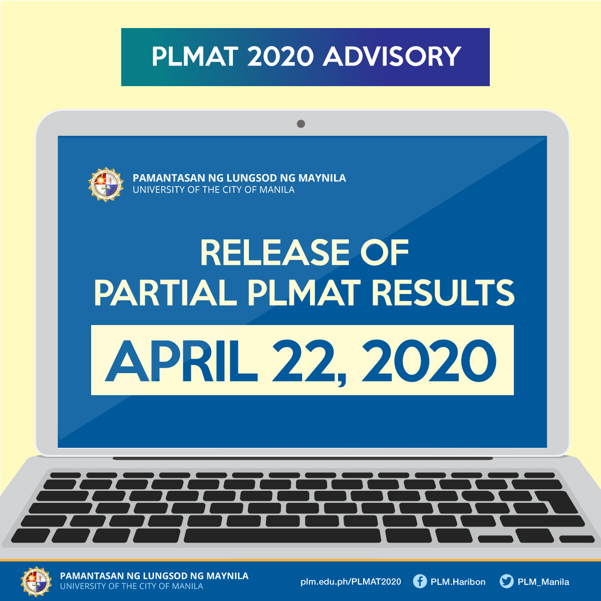 Release of PLMAT 2020 Results Moved to April 22, 2020